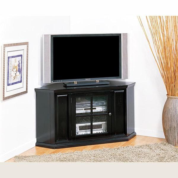 Shop Rubbed Black 46 Inch Corner Tv Stand Media Console Free