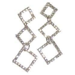 Detti Originals Silvertone Brass Triple-diamond Clear Crystal Earrings