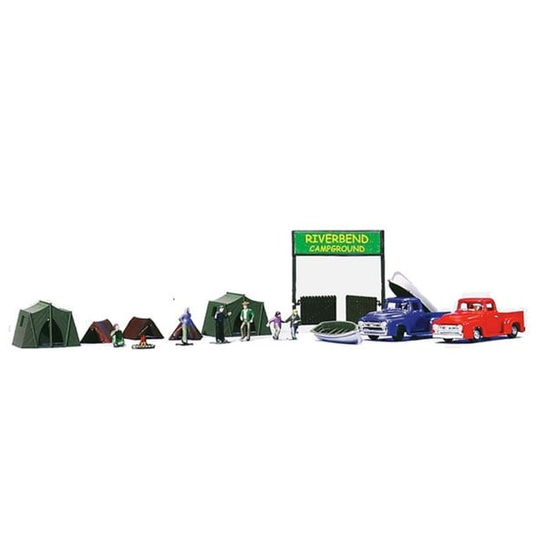 Walther Lifelike HO Scale Campground Scene Essentials Set