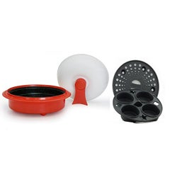 Thumbnail 1, Microhearth Red 1.5-quart Covered Nonstick 4-piece Everyday Pan Set.
