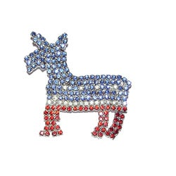 Detti Originals Patriotic Red, White and Blue Crystal Donkey Pin