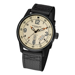 Stuhrling Original Tuskegee Skymaster Men's Automatic Leather Strap Watch with Beige Dial