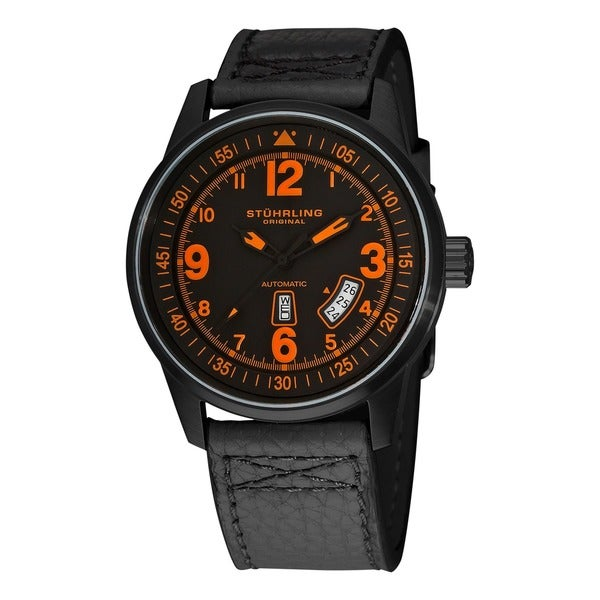 Stuhrling Original Men's Tuskegee Skymaster Automatic Watch with Black Leather Strap