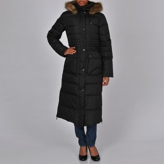 DKNY Women's Black Quilted Down Full-length Zip-front Hooded Coat