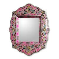 Handmade Reverse Painted Glass 'Pink Floral' Wall Mirror (Peru) - Pink - N/A