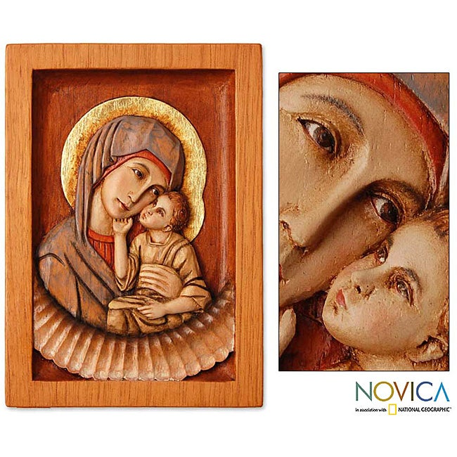 Handmade Cedar 'Virgin of Caresses' Relief Panel Sculpture (Peru)