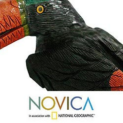Handcrafted Multi-gemstone 'Toucan Dines' Sculpture (Peru)