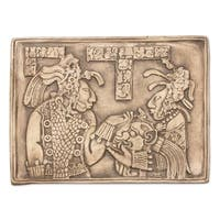 Handmade Ceramic 'Maya Ruler and Wife' Wall Plaque (Mexico)