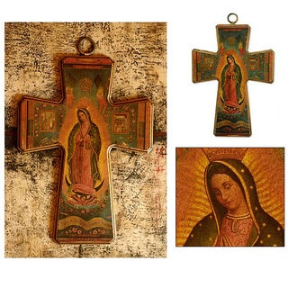 Handmade Pinewood 'Guadalupe Patron of Mexico' Decoupage Cross (Mexico)