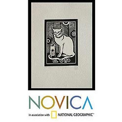 Handmade Pallares 'The Cat Tequila Lotto' Aquafortis Print (Mexico)