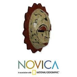 Sese Wood 'Moon Goddess' African Mask (Ghana)