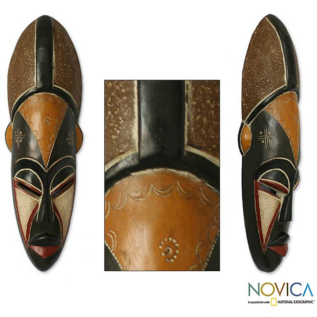 Sese Wood 'Elite Appreciation' Africa Mask (Ghana) - Thumbnail 0