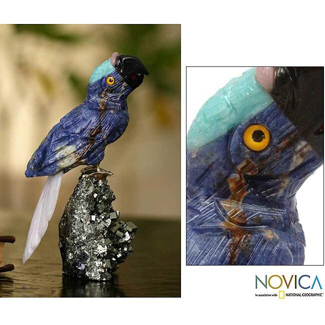 Handcrafted Multi-gemstone 'Blue Baby Parrot' Sculpture  , Handmade in Peru