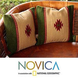 Set of Two Wool 'Sierra' Zapotec Cushion Covers (Mexico)