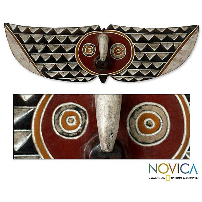 Sese Wood 'Butterfly Dancer' African Mask (Ghana)