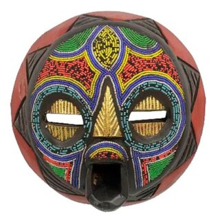 My Beautiful Woman Multicolor Seed Beads Brass Repousse Sense Wood Carved Igbo Tribal Decor Accent African Wall Art Mask (Ghana)