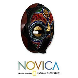 My Beautiful Woman Multicolor Seed Beads Brass Repousse Sense Wood Carved Igbo Tribal Decor Accent African Wall Art Mask (Ghana) - Thumbnail 1