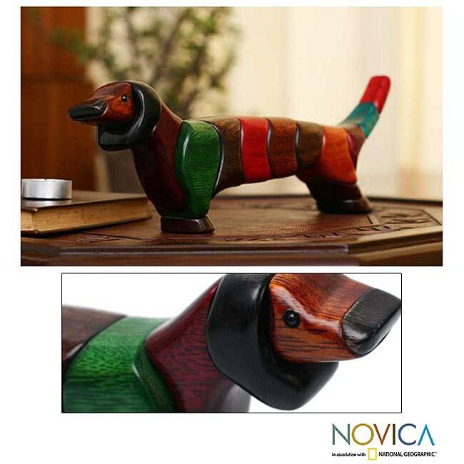 Handmade Ishpingo Wood 'Medium Happy Dachshund' Sculpture (Peru)
