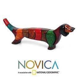 Handmade Ishpingo Wood 'Medium Happy Dachshund' Sculpture (Peru) - Thumbnail 1
