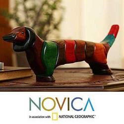 Handcrafted Ishpingo Wood 'Medium Happy Dachshund' Sculpture (Peru)