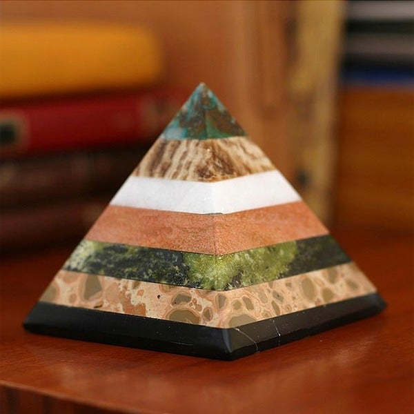 Handcrafted Multi-gemstone 'Be Positive' Pyramid Sculpture , Handmade in Peru