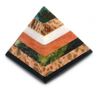 Handcrafted Multi-gemstone 'Be Positive' Pyramid Sculpture  , Handmade in Peru