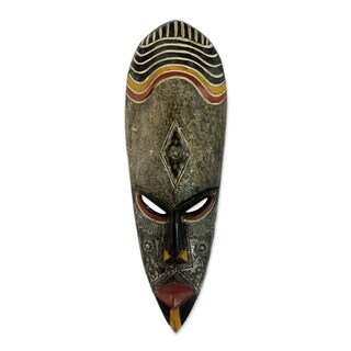Sese Wood 'Frightening' African Mask (Ghana) - Brown