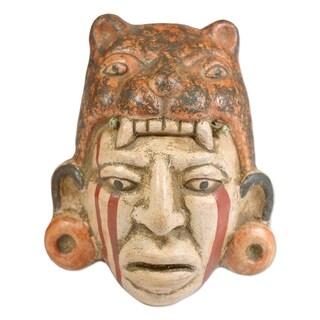 Handmade Ceramic 'Maya Jaguar Priest' Mask (El Salvador)