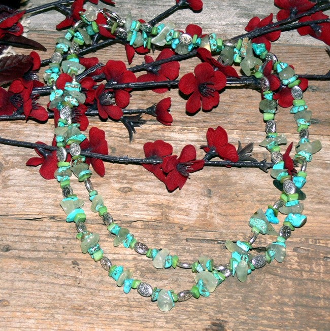 Susen Foster Silverplated Caribbean Vacation Gemstone Necklace