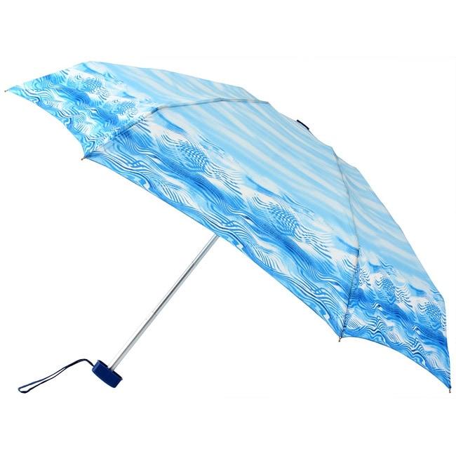 Leighton 41-inch Blue Wave-print Compact Umbrella