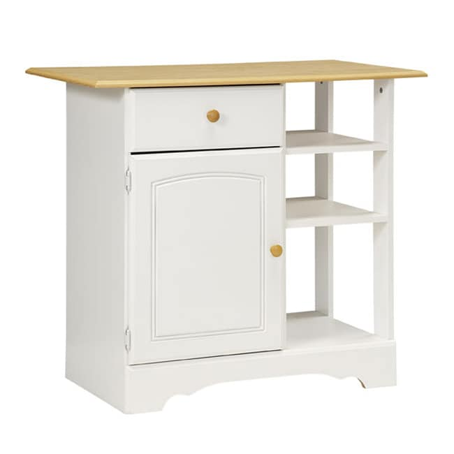 New Visions by Lane Kitchen Essentials White/Maple Kitchen Island - Thumbnail 0