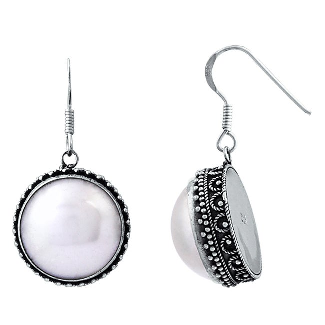 Sterling Silver and Mabe Pearl Earrings (16 mm) (Indonesia)