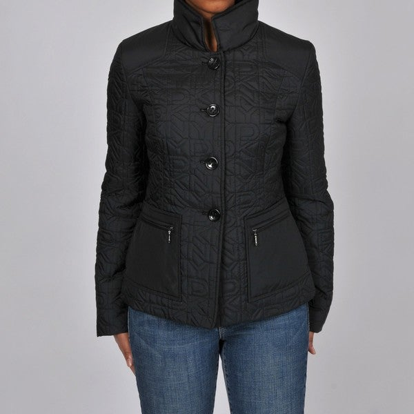 Shop Dkny Women S Logo Quilted Stand Collar Barn Jacket