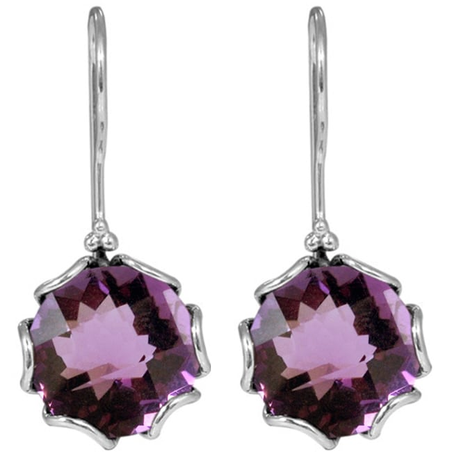 Handmade Sterling Silver Amethyst Dangle Earrings (Indonesia)