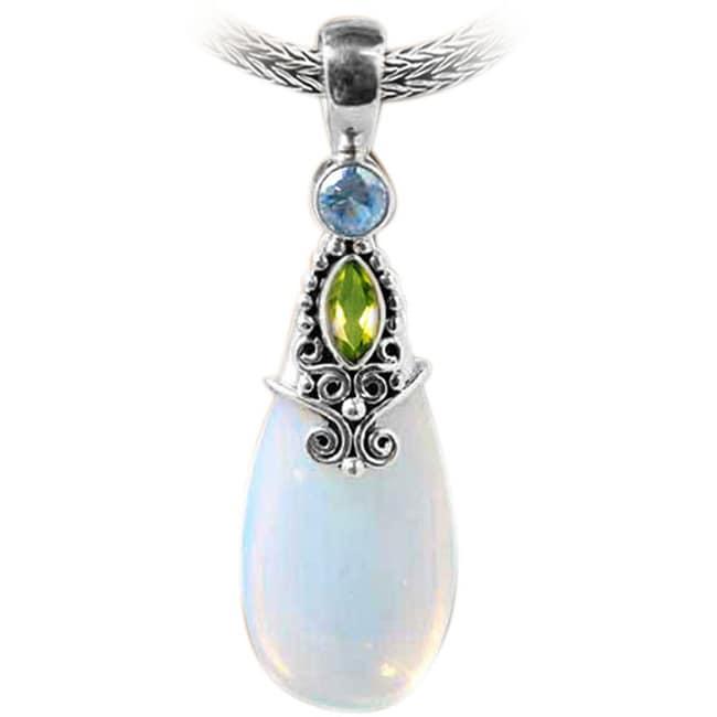 Silver Round Opalite, Peridot and Blue Topaz Pendant (Indonesia)