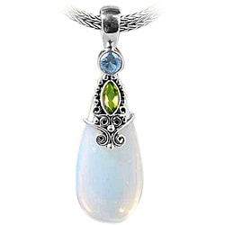 Silver Round Opalite, Peridot and Blue Topaz Pendant (Indonesia)