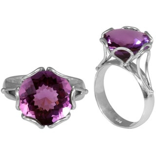 Handmade Sterling Silver Faceted Amethyst Ring (Indonesia)