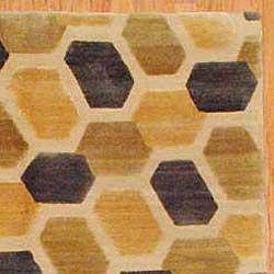 Tibetan Hand-knotted Gold/ Beige Wool Rug (5'9 x 8'10)