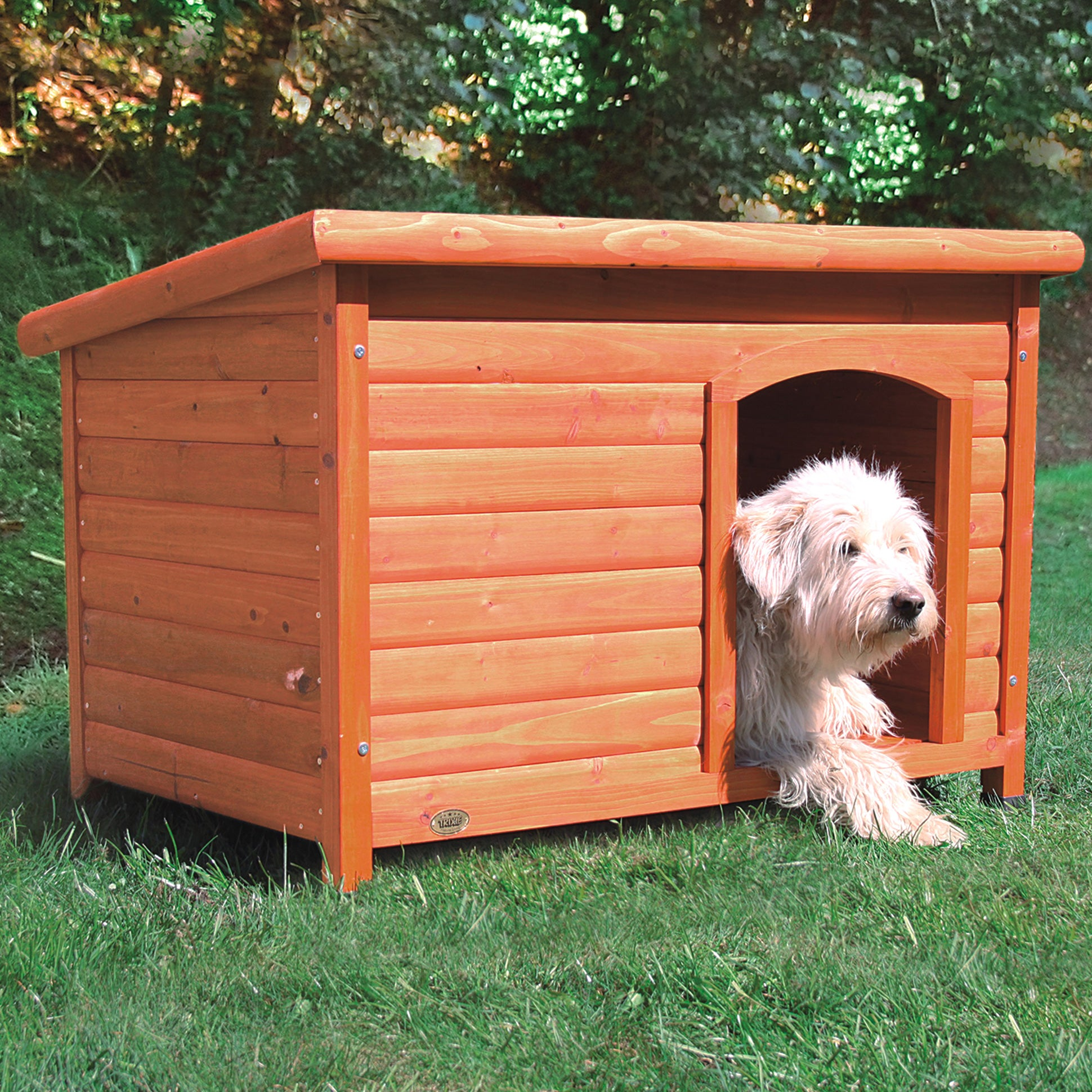Trixie Dog Club House (large, glazed pine, flat roof that...