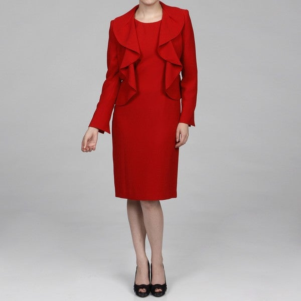 Shop Kasper Women s Crimson 2-piece Ruffle Collar Dress Suit - Free ... 6746119962