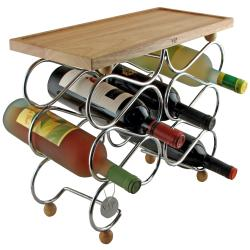 Tabletop 10-bottle Wine Rack with Corkscrew and Pour Stopper