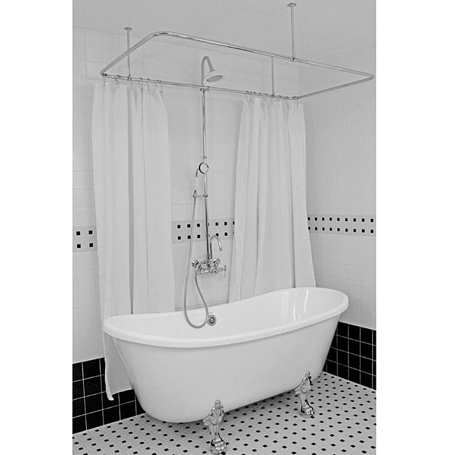 Spa Collection 59 Inch Extra Deep Bateau Clawfoot Tub And Shower Pack Free