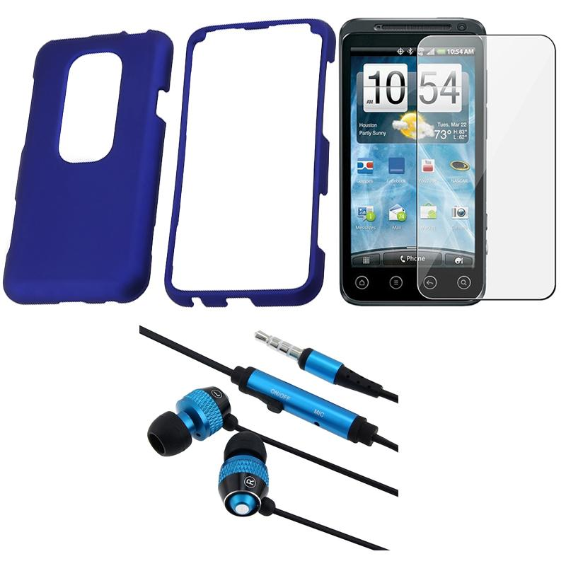 BasAcc Blue Rubber Coated Case/ Headset/ LCD Protector for HTC EVO 3D