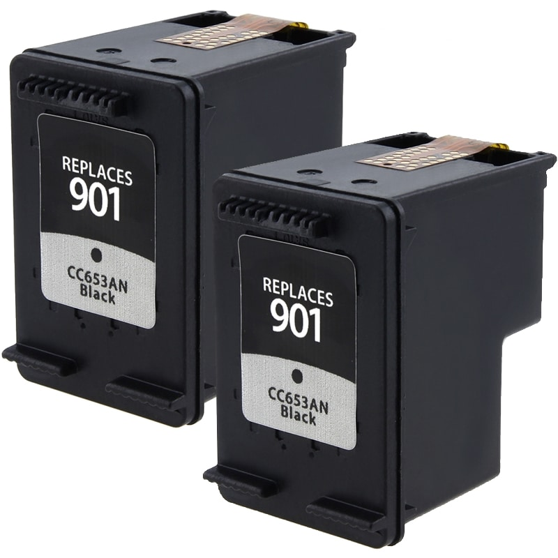 INSTEN HP 901 Black Ink Cartridge (Remanufactured) (Pack of 2)