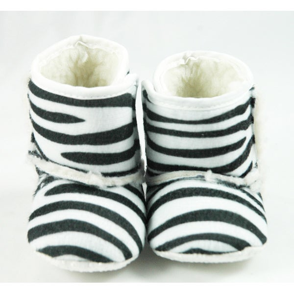 Black and White Zebra Infant Girl Crib Boots
