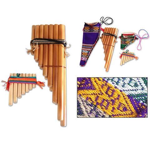 Handmade Set of 2 Bamboo 'Inca Serenade' Zampona Panpipes (Peru)