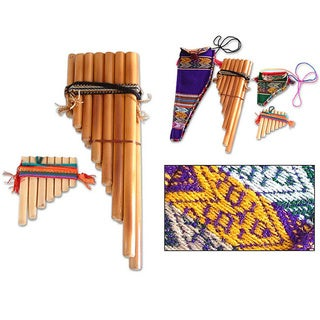 Set of 2 Handcrafted Bamboo 'Inca Serenade' Zampona Panpipes (Peru)