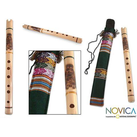 Handmade Bamboo 'Night Owl' Andean Quena Flute (Peru)