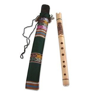 Handcrafted Bamboo 'Night Owl' Andean Quena Flute (Peru)