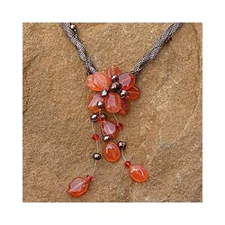 Pearl and Carnelian 'Flower of Siam' Necklace (4-6.5 mm) (Thailand)